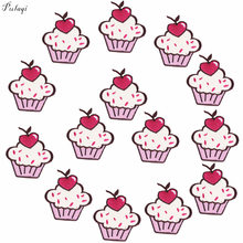 Pulaqi Cartoon Cupcake Ijzer Op Borduurwerk Patches Ijzer Patches Voor Kleding Patch Stickers Op Rugzak T-shirt Diy Groothandel F(China)