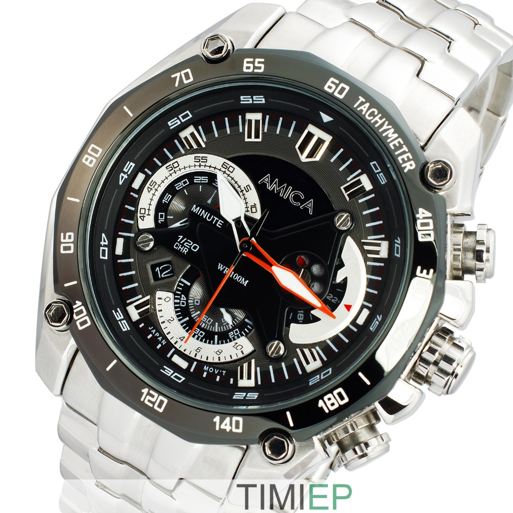 AMICA High Quality Men's Full Steel 100M Waterproof 300FT Diving Watch stopwatch Rattrapante kabale und liebe