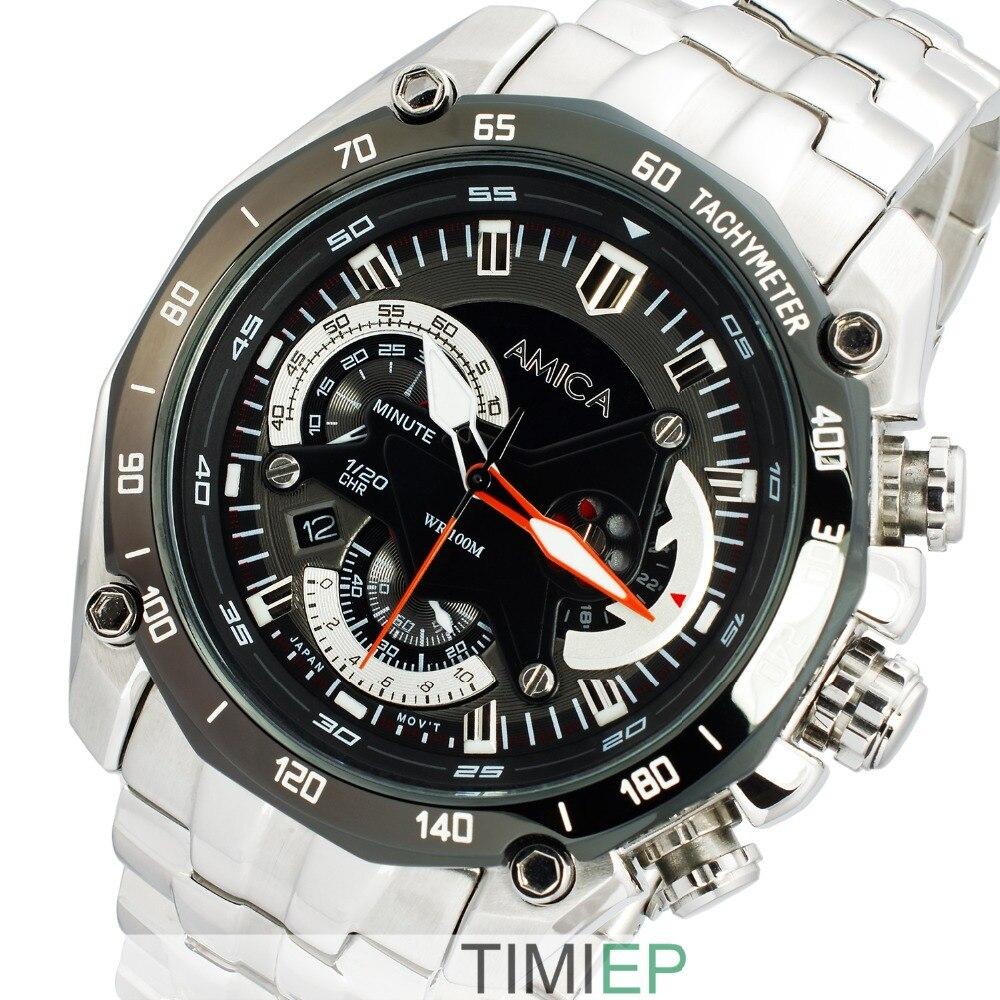 AMICA haute qualité hommes acier 100 M étanche 300FT plongée Sport montre chronomètre Rattrapante