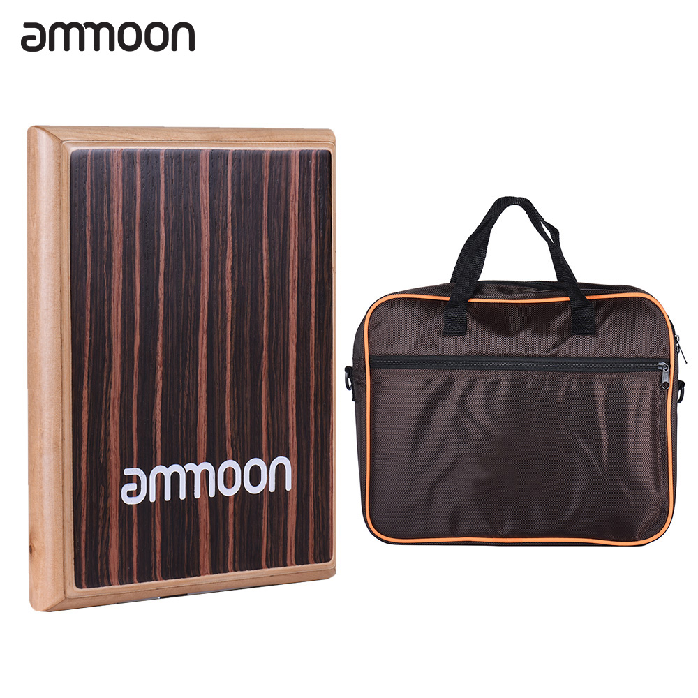 ammoon Flat Hand Drum Compact Travel Box Drum Cajon Percussion Instrument with Adjustable Strings Carrying Bag