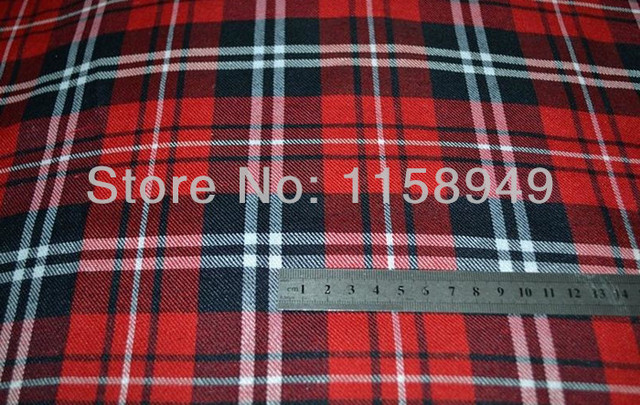 TARTAN STEWART POLY COTTON SCOTTISH RED BLACK PLAID FABRIC CLOTH - PER  METRE FREE SHIPPING 776c4db53c10