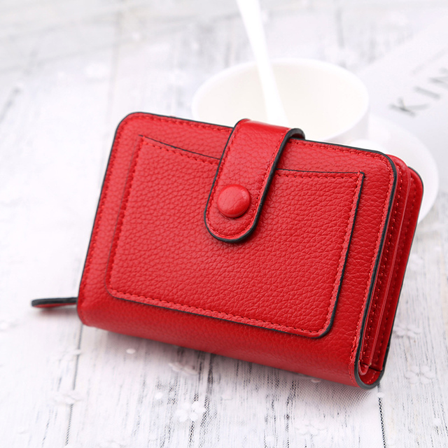 Large Capacity Fashion Women Wallet Short Purses Female Clutch PU Leather Credit card Holder Solid Zipper Bag 1