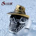 De acero soldado de oro sombrero de hip hop hombres del acero inoxidable de la venta caliente del anillo del cráneo de joyería de moda