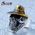 Steel soldier gold hat hip hop skull ring hot sale stainless steel men fashion jewelry