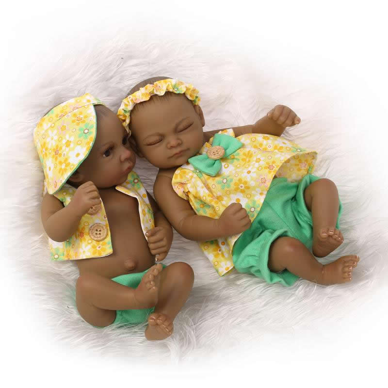 Native American Indian Black Babies 11 Inch Full Silicone Vinyl Lifelike  Newborn Reborn Twin With Cultural Clothes Kids Playmate 2b84e17193a6