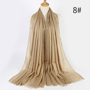Image 4 - Fashionable Shimmer Fringe Metallic Scarf Muslim Headband Women Viscose Islamic Hijabs Turban Gold Lurex Long Shawls 200x90cm