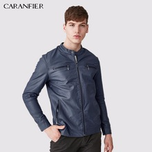 CARANFIER Men Warm Breathable Leather Jacket High Quality Windproof Soft Male Motorcycle Rider Businessmen Style M