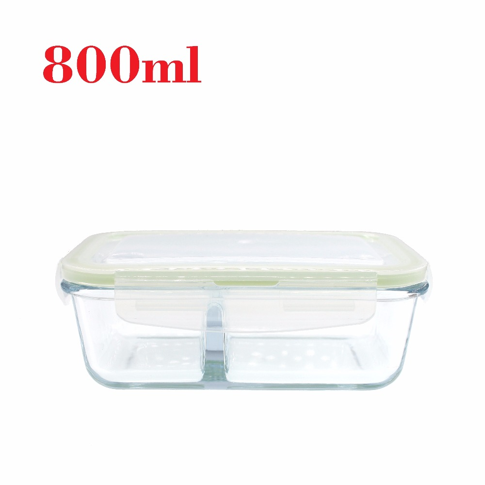 800ml Gl Lunch Containers With Compartments Microwavable Box 2 Caja De Almuerzo Cristal In Bo From Home Garden On