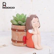 Roogo Bloempot Hars Amerikaanse Stijl Bloempotten Decoratieve Leuke Meisje Vetplanten Planten Pot Voor Huis Tuin Balkon Decoratie