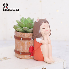 Roogo FlowerPot Resin American Style Flower Pots Decorative Cute Girl Succulents Plants Pot For Home Garden Balcony Decoration