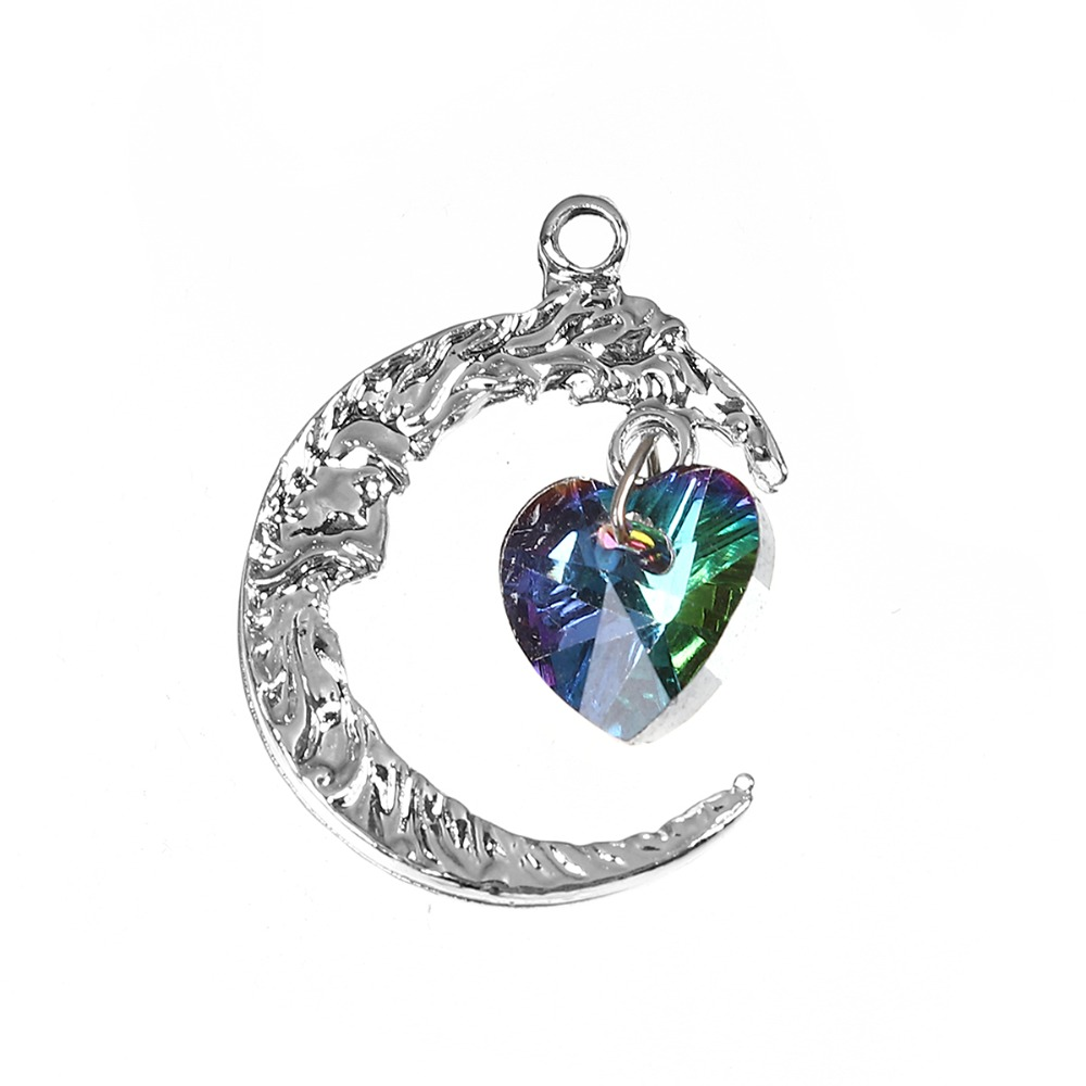 Copper AB Rainbow Color Aurora Borealis Charms Heart Gold Color Green Moon Face AB Color Rhinestone Faceted