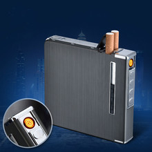 Último USB recargable de carga más ligero con 20 Caja de cigarrillos de la protección del medio ambiente humo de Gas encendedor de cigarrillo