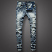 Italian Style Fashion Mens Jeans High Quality Slim Fit White Wash Light Blue Color Denim Men Brand Classic Buttons Pants