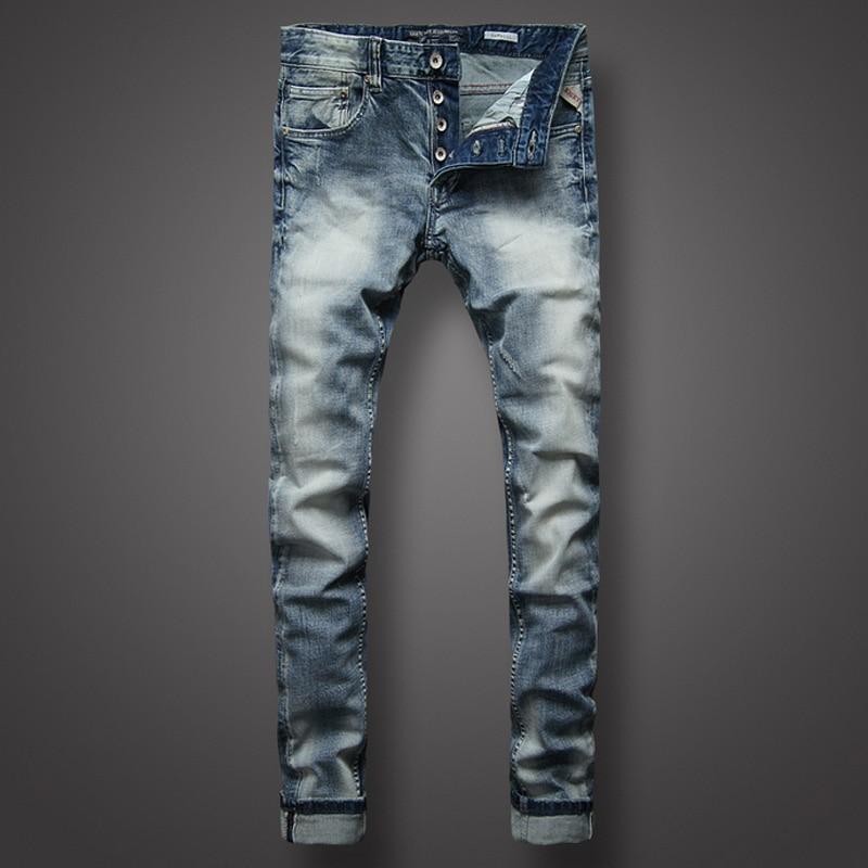 Italian Style Fashion Mens Jeans High Quality Slim Fit White Wash Light Blue Color Denim Jeans Men Brand Classic Buttons Pants