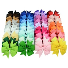 40pcs/lot 40Colors Girl Ribbon Bow Clips Hairpin Girl's hairbows Boutique Hair Clip Headware Kids Hair Accessories Summer style