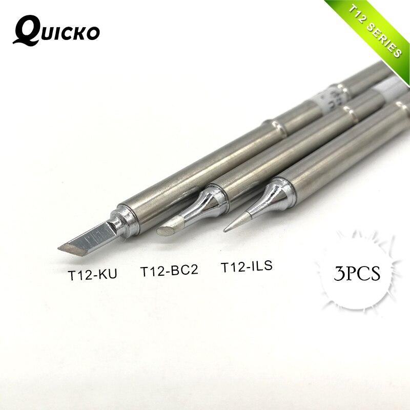Newest 3Pcs/set T12-KU T12-BC2 T12-ILS Solder Iron Tips T12 Series For Soldering Rework Station FX-951 FX-952
