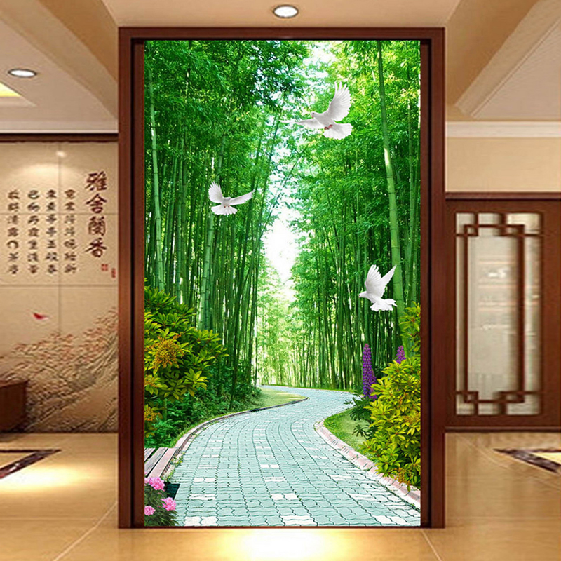 Custom Any Size 3D Wall Mural Wallpaper De Parede Bamboo Forest Living Room Entrance Background Wall Covering Photo Wallpaper
