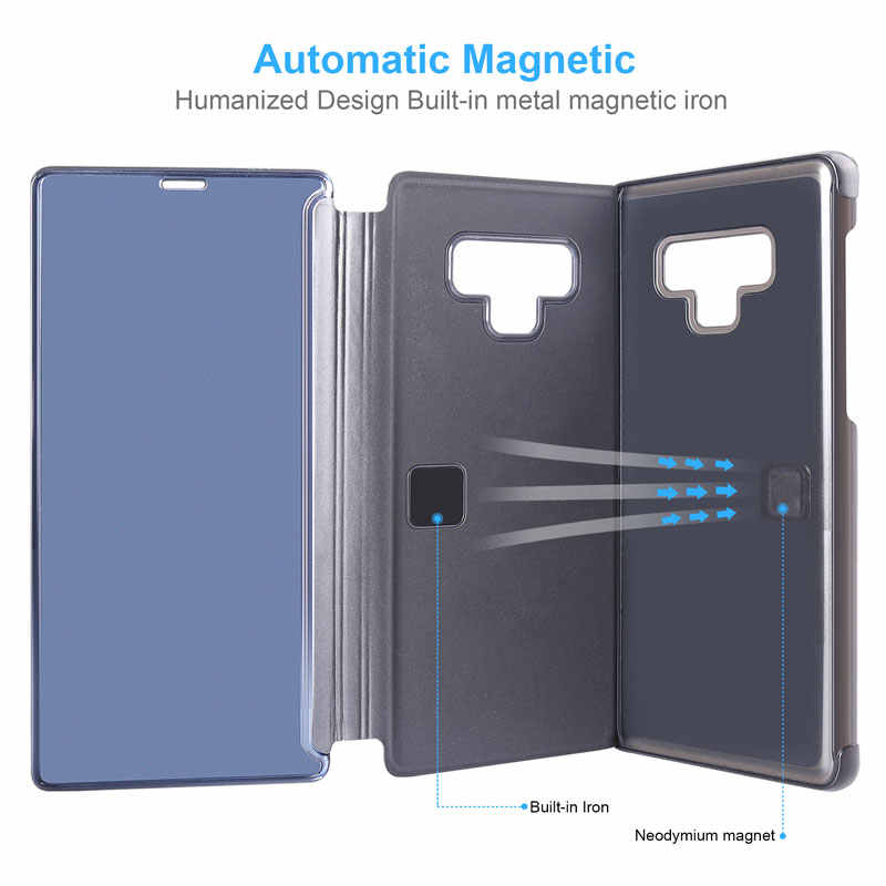 5f030d40b ... View Mirror Smart Flip Case For Samsung Galaxy Note 9 8 S9 S8 PLUS Leather  Phone ...