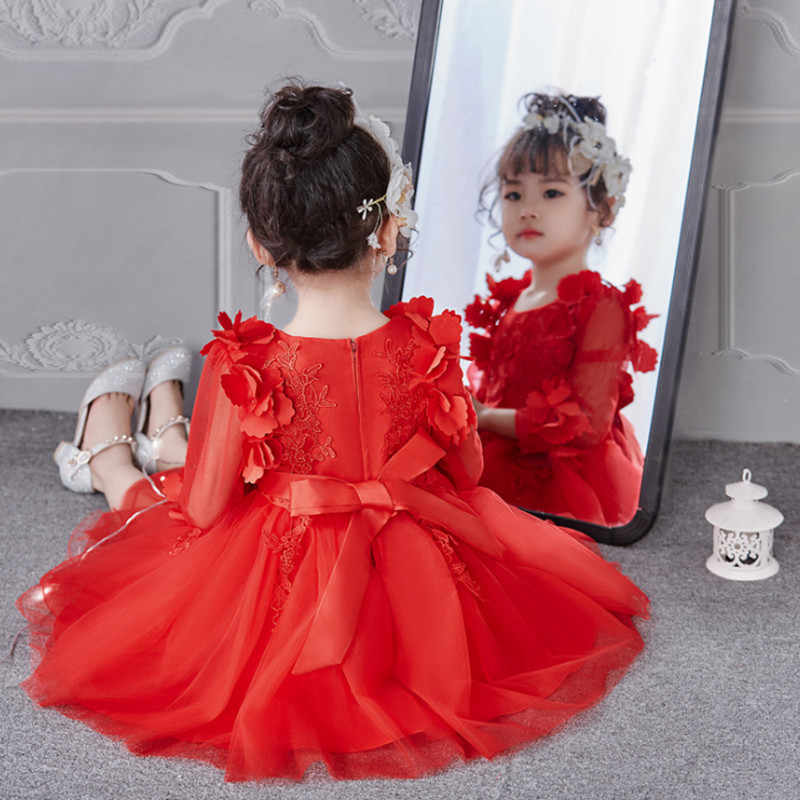 ffcf8ba9537 ... Платье для девочек осень-зима Детские платья с длинными рукавами  кружевное платье с цветочным рисунком ...