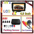 "Promotions CCD Car Rear View Parking Camera & 4.3"" TFT Color LCD Car Monitors Rearview 16:9 For Parking Sensor with 4 Probes"