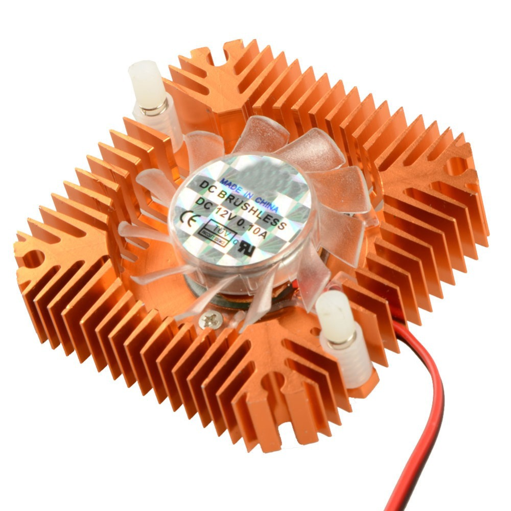 55mm 2 PIN Graphics Cards Cooling Fan Aluminum Gold Heatsink Cooler Fit For Personal Computer Components Fans Cooler VC899