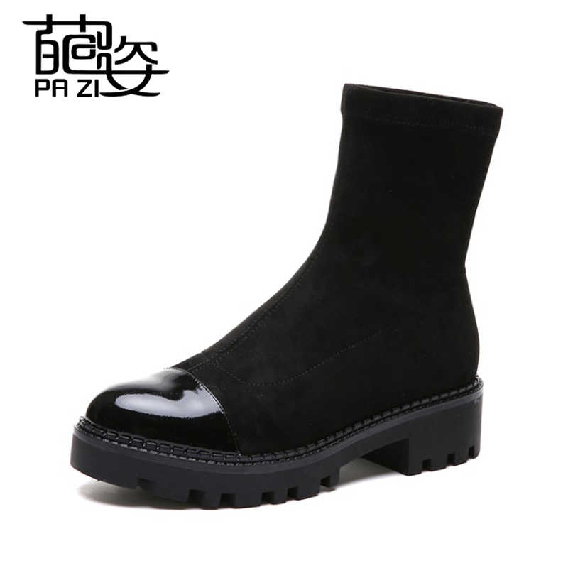 ea798fa94eea Slip-On Women Boots Autumn Ankle Platform Flat Boots Ladies Boots Black PU Leather  Shoes