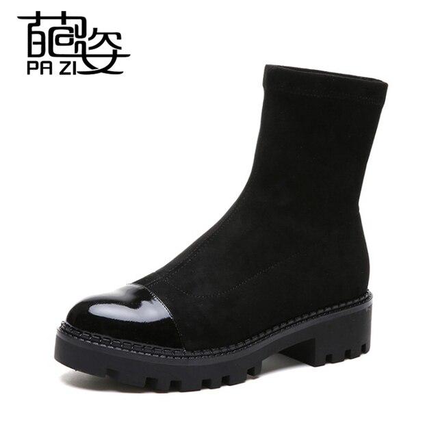 Slip-On mujeres botas otoño tobillo plataforma botas damas botas negro PU zapatos de cuero para las señoras respirable cómodo zapatos