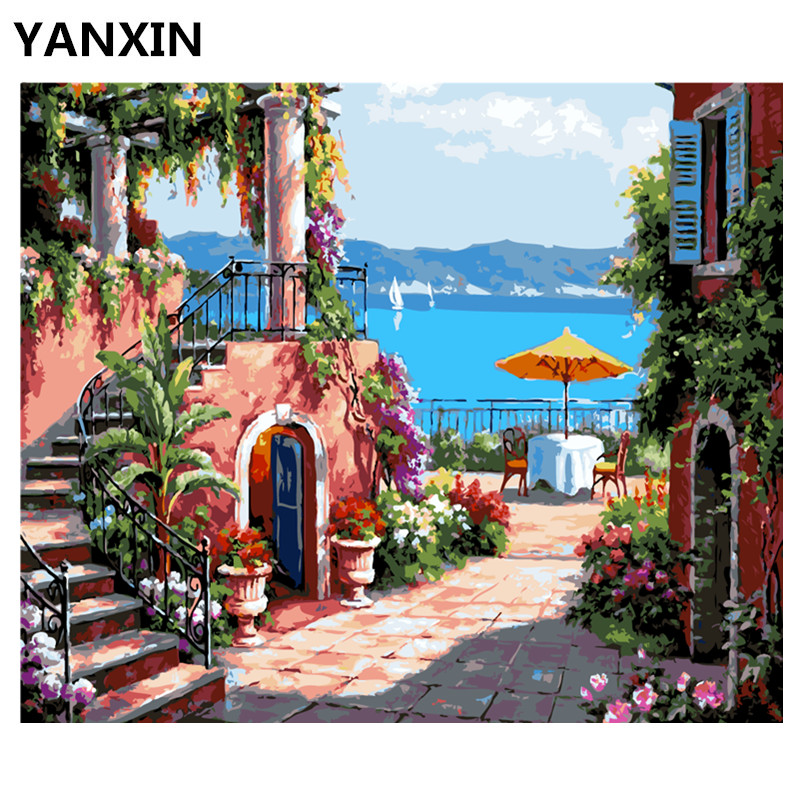 YANXIN DIY Frame Painting By Numbers Oil Paint Wall Art Pictures Decor For Home Decoration E574