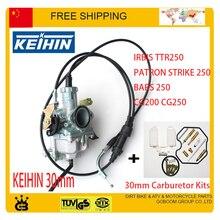KEIHIN 30mm PZ30 IRBIS TTR250 Tuning Tuned Power Jet Accelerating Pump Carburetor Repair Kit CG 200cc 250cc dual throttle cable