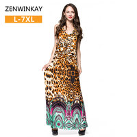 Women Sexy Deep V Neck Low Cut Slit Leopard Print Casual Prom Party Long Dress Short