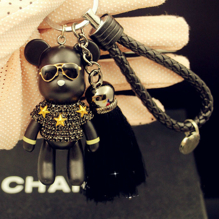 Cartoon Leather Weave Rope Bomgom Popobe Gloomy Keychain Tassel Key Chain Ring Holder  Bag Charm Black Pendant Violence Bear Car
