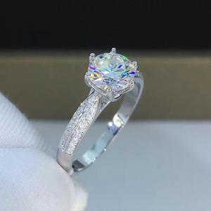 Image 4 - Round White Gold Moissanite Ring 1ct 6.50mm D VVS Luxury Moissanite Weding Ring for Women