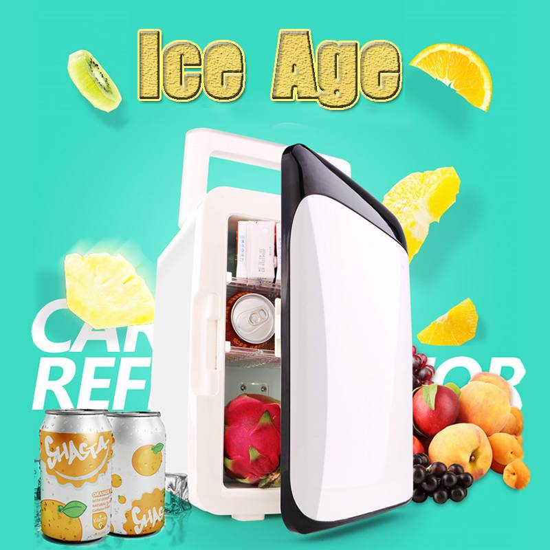 10L 12V Eletric portable Dual-use Car Home Fridge Freezer Travel Cooler Warmer Mini Refrigerator Dormitory Cans Beer Cooler