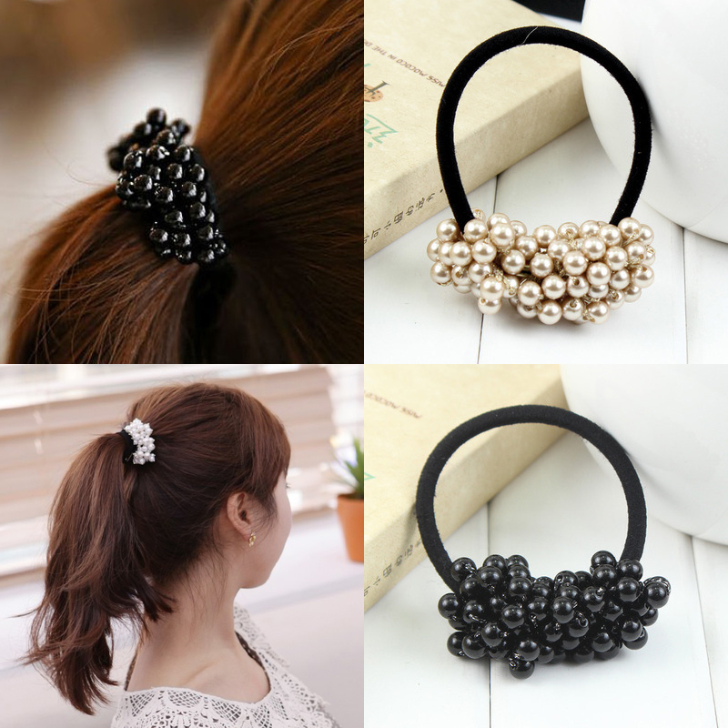 Aikelina Pearls Black Elastics Hair Girl's Women Tie Gum