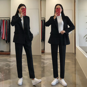 Pants suits elegant woman spring and autumn black solid color fashion office ladies business professional OL two-piece suit black solid color swimwears two piece outfits