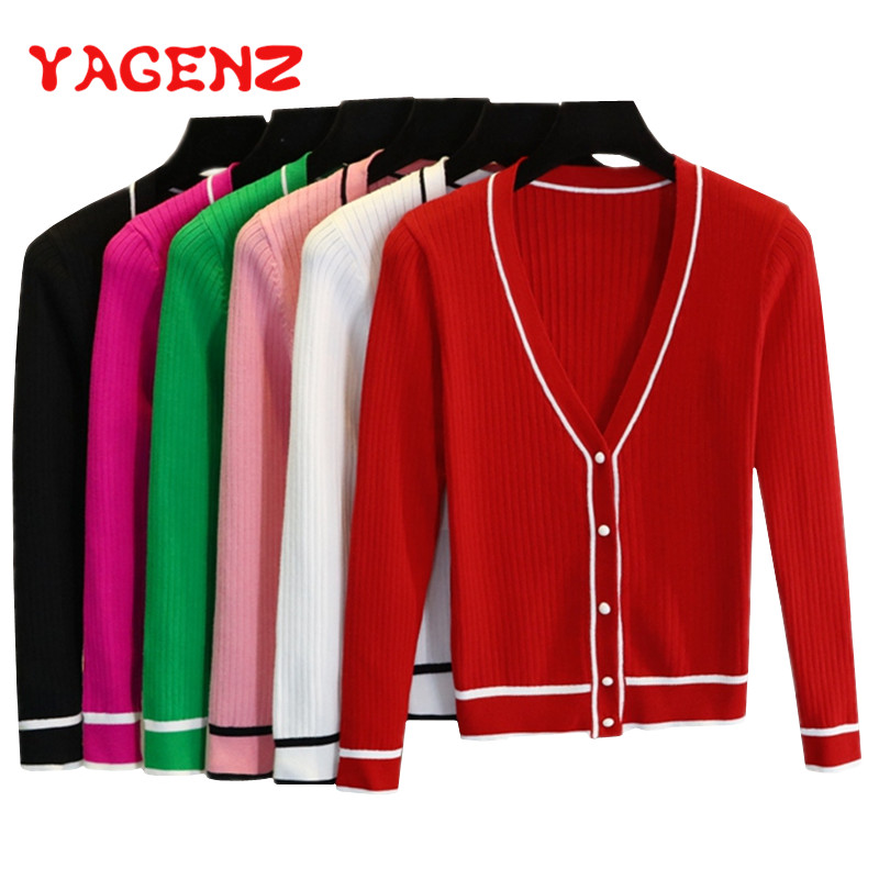 YAGENZ Stripe Cardigan Women Knitted Sweaters Spring And Autumn Coat V Neck Plus Size Ladies Long Sleeve Thin Sweater Short Coat