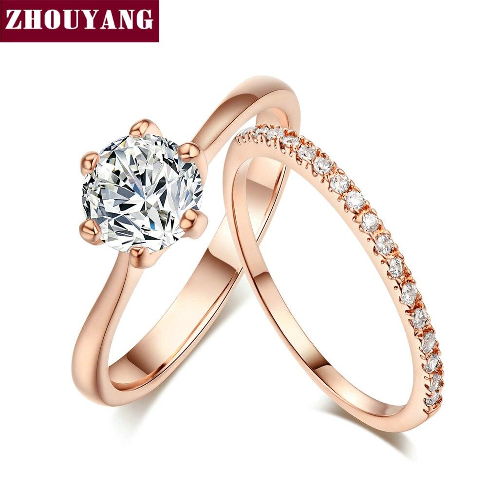 Женский набор свадебных колец zhoyang, разноцветное кольцо из 2 предметов в классическом стиле AAA + CZ, розовое золото, SR013