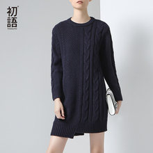 Toyouth 2017 New Arrival Women Acrylic Solid Full Dresses Autumn Asymmetry Knitting O-Neck Dresses