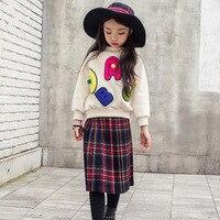 LVANITA New Design Autumn Winter Kids Long A Word Pleated Skirt Children Baby Girl Red Black