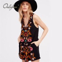 Ordifree 2018 Summer Floral Embroidery Dress Sleeveless Black Vintage Flower Embroidered Short Tank Dress Vestidos