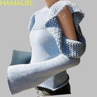 HAMALIEL Runway Blue Off Shoulder Ruffles Sweater 2018 Autumn Winter Women Full Flare Sleeve Hollow Out Knitting Pullover Jumper