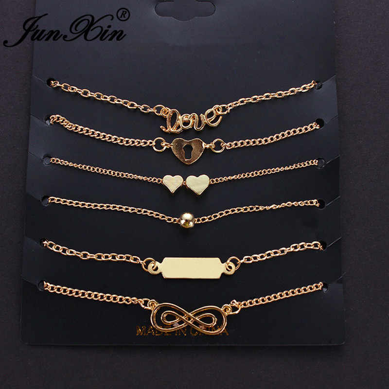 JUNXIN 6 pcs אהבת לב אינפיניטי צמידי קרסול לנשים זהב צבע דק שרשרות מינימליסטי החוף יחף קרסול צמיד רגל תכשיטים
