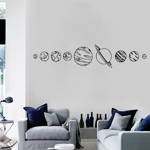 Solar System Wall Decal Living Room Home Decor Space Vinyl Stickers ...