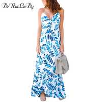 DeRuiLaDy Casual Summer Beach Maxi Dress Sleeveless Sling Deep V Neck Asymmetrical Print Dresses Party Sexy