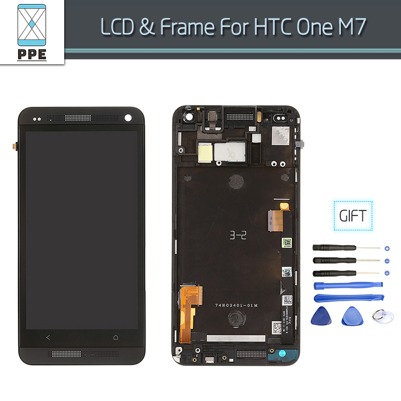LCD Complete For HTC One M7 LCD Display Assembly Touch Screen Glass Digitizer Pantalla Frame Bezel Replacement New Original 4.7' white black original lcd for apple ipad mini 4 lcd display touch screen digitizer glass bezel complete assembly pantalla repair