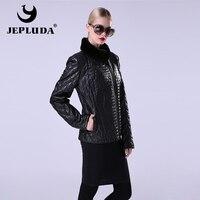 JEPLUDA Новая модель натуральный кожаный куртки из овчины женские польто из натуральный кожи гладкий куртка женская воротник стойка с мех крол...