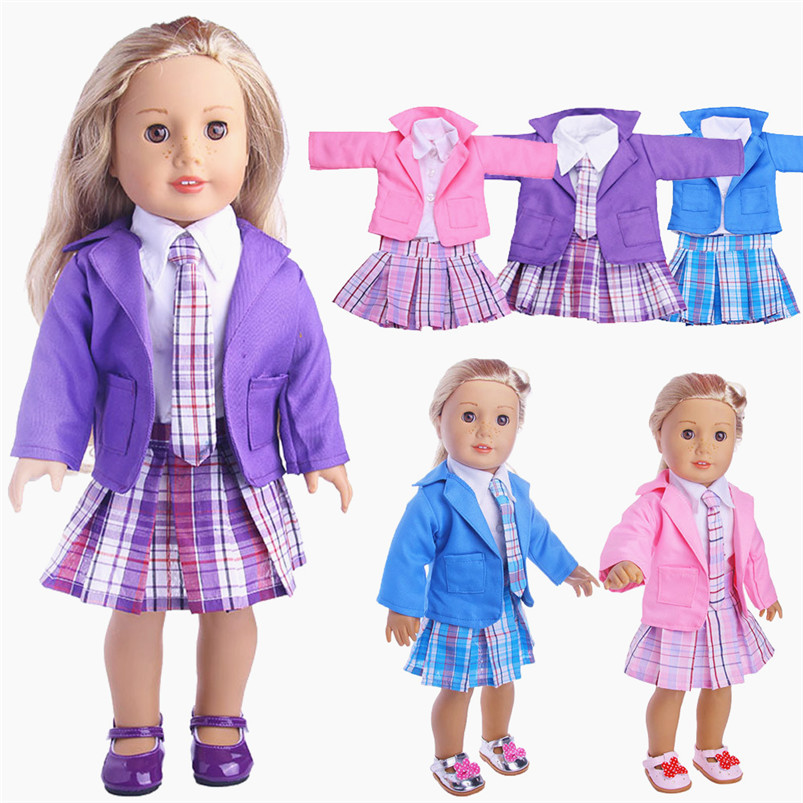 High Quality Denim Long Sleeves Jacket + T-Shirt + Mini Dress Pink Skirt + Trousers Pants Clothes For American Girl Doll Toys