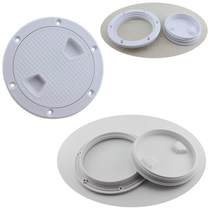 """Image 1 - Plastic Round 4"""" 6"""" 8"""" Marine Boat RV Hatch Cover White Screw Out Deck Inspection Plate"""