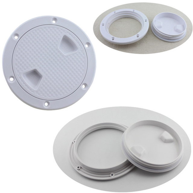 """Plastic Round 4"""" 6"""" 8"""" Marine Boat RV Hatch Cover White Screw Out Deck Inspection Plate"""