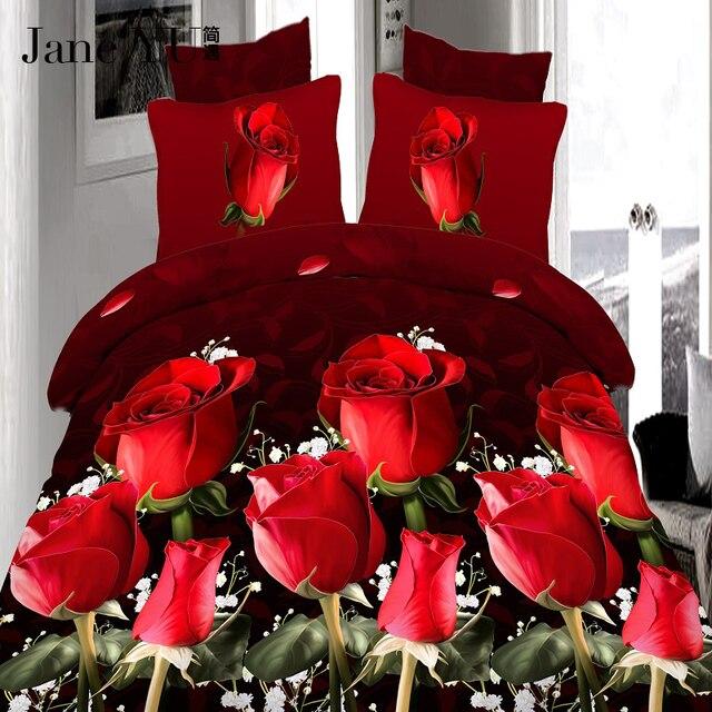 JaneYU 4 Pz king size di Lusso 3D Rosa set di Biancheria Da Letto di colore Ross